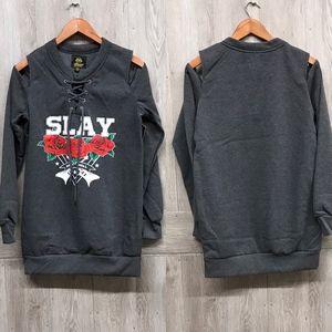 Back2Basics Tops - Slay Rock and Roll Cold Shoulder Sweatshirt A6